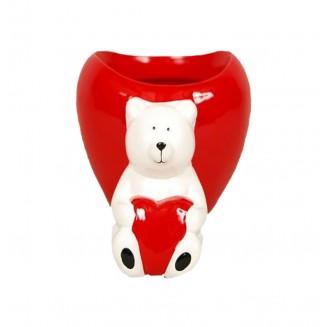 Pot rouge ours blanc cœur...