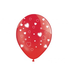 Ballon rouge cœur blanc...