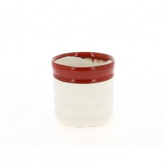 Cache pot blanc et rouge 14cm