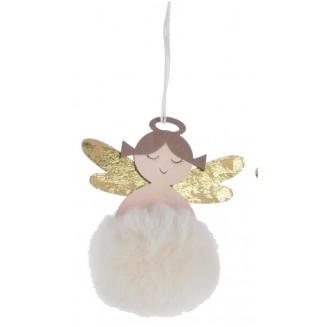 Ange en bois pompon blanc à...