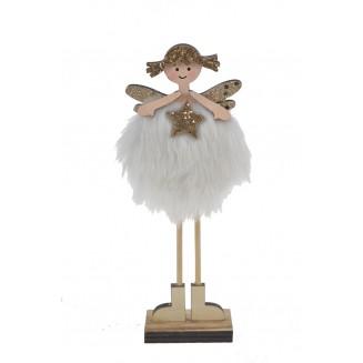 Ange poupée en bois blanc